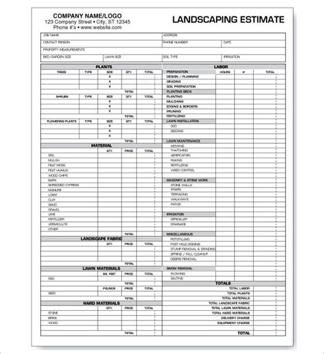 garden wall cost calculator 6 landscaping estimate templates free word excel pdf