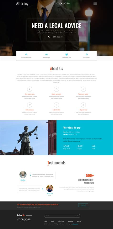 free bootstrap templates for lawyers attorney a business category bootstrap responsive web template