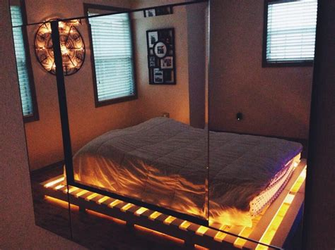 pallet bed with lights lights under the bed pallet room ideas pinterest the