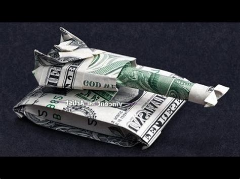 Origami Army Tank - money origami tank dollar bill