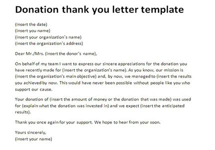 thank you for donation card template letter thank you for donation