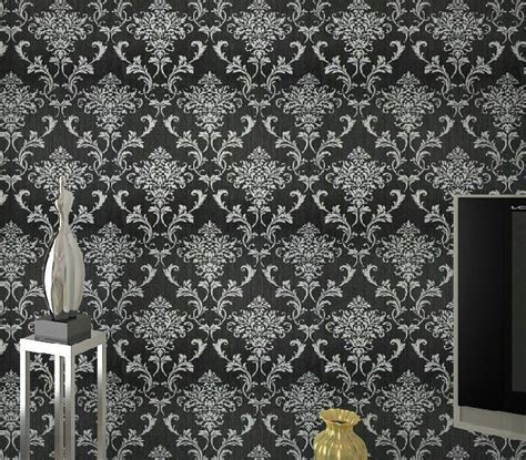 wallpaper hitam glitter pvc glitter black silver damask wallpaper background wall