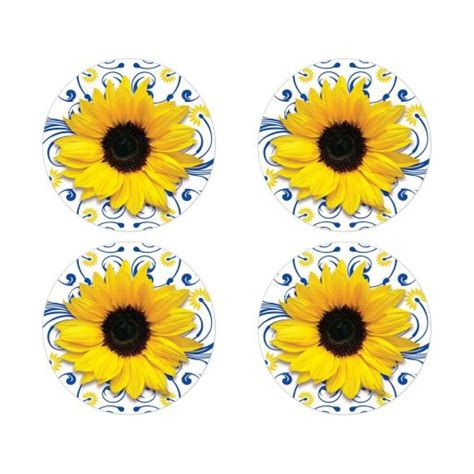Royal Sunflower royal blue yellow sunflower wedding envelope seals or stickers