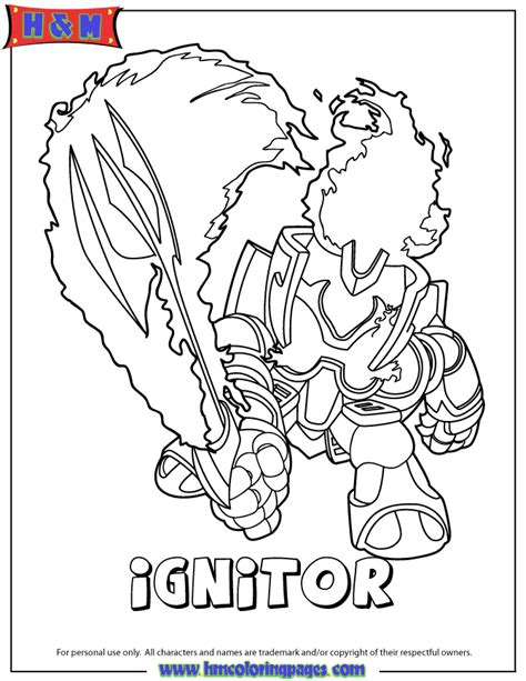 skylanders giants fire ignitor series2 coloring page h