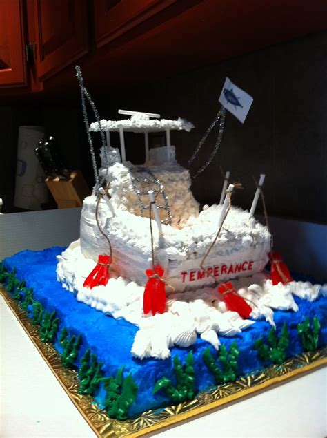 how to make a fishing boat cake topper sport fishing boat cake cakes pinterest boat cake