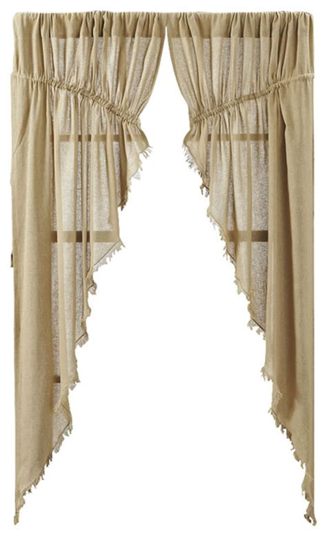 Tobacco Cloth Curtains Tobacco Cloth Khaki Prairie Curtain Fringed Set Of 2 Rustic Curtains By Vhc Brands