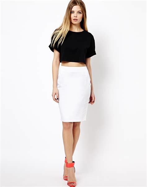 asos high waisted pencil skirt white in white lyst