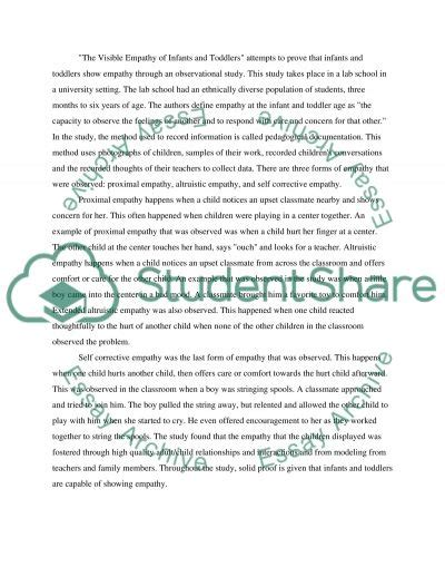 Empathy Essay by The Visible Empathy Of Infants And Toddlers Essay