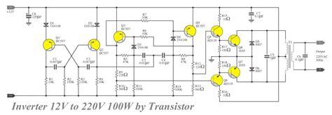 transistor inverter inverter circuit 12v to 220v 100w electronic circuit
