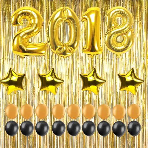 new year 2018 decorations uk 32inch number 2018 foil balloons gold fringe curtains