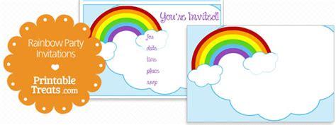 free printable rainbow party decorations printable rainbow party invitations printable treats com
