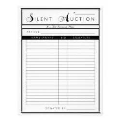 silent auction form letter sized paper letterhead zazzle
