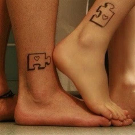 couple tattoos that fit together puzzle his and hers so
