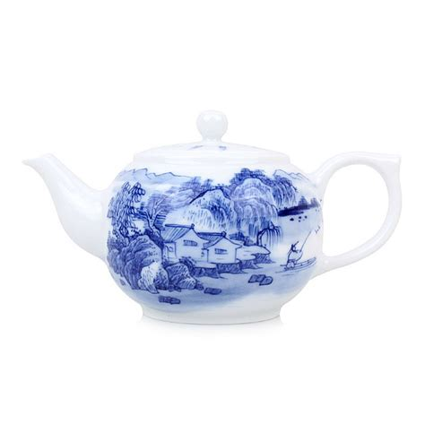 blue and white porcelain blue and white porcelain tea pot ancient town in the slow