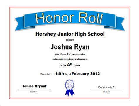 student certificate templates for word 9 printable honor
