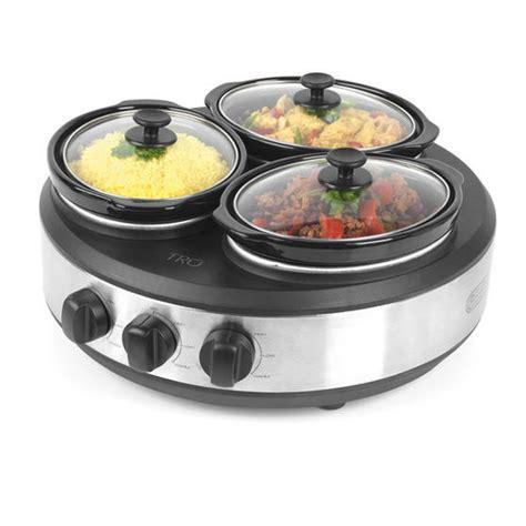 tru 3 crock round buffet server slow cooker cookware