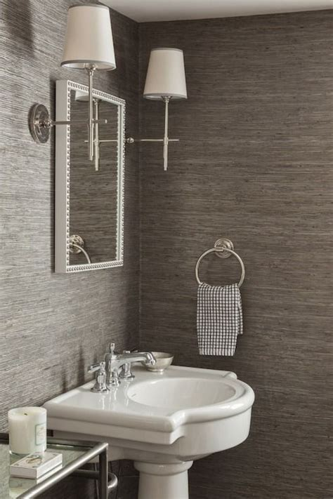 grasscloth bathroom powder rooms powder and pedestal sink on pinterest