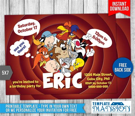 Looney Tunes Birthday Invitation Template 1 By Templatemansion On Deviantart Looney Tunes Invitations Templates