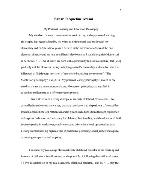 Essay Musterbeispiel Uni by Personal Education Philosophy