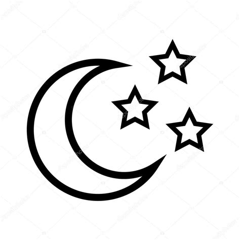 star shape and moon design isolated figure of five points