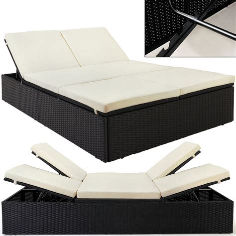 garden double bed rattan black beige double couch sun