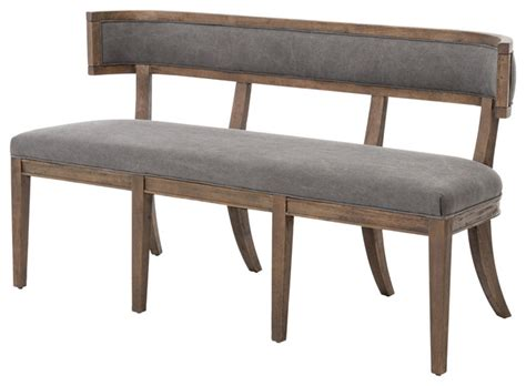 grey upholstered bench lauran curved back gray upholstered dining bench