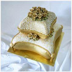 Bling Gold Pita 2 tiered pillow wedding cake