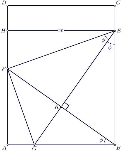 Folding Paper Math Problem - calculus an optimisation problem folding paper