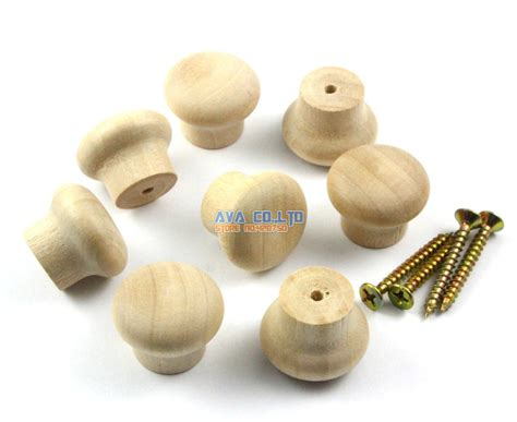 50 pieces 24mm unpainted wood knob wooden drawer pull