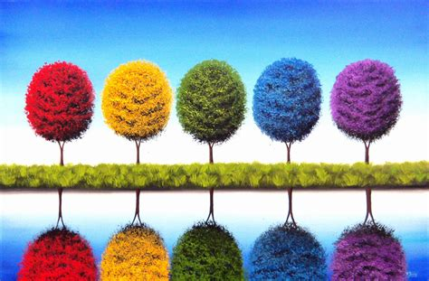 colorful trees rainbow trees art print colorful tree landscape print