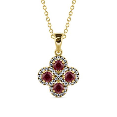 Ruby 9 05ct cluster ruby and 1 05ct pendant 9k yellow gold