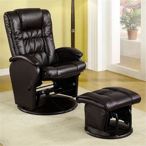brown leather chair with ottoman coaster faux leather like glider chair with matching