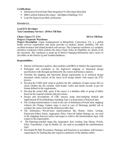 Informatica Resume by Informatica Developer Resume Resume Ideas