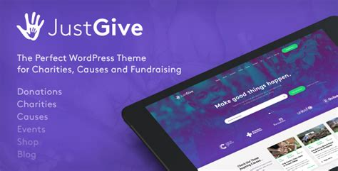 themeforest after effects justgive charity fundraising wordpress theme charity