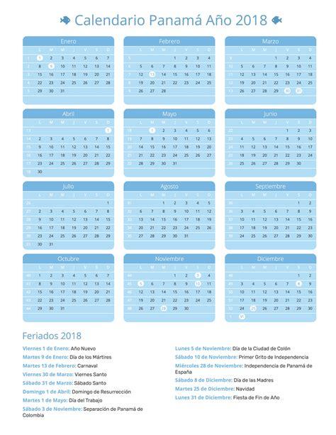 Calendario Escolar 2018 Panama Calendario Panam 225 A 241 O 2018 Feriados