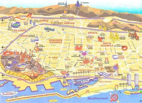 printable maps barcelona barcelona neighborhood map barcelona pinterest