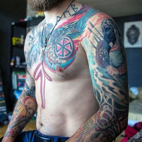 viking chest tattoo 80 rune tattoos for germanic lettering design ideas