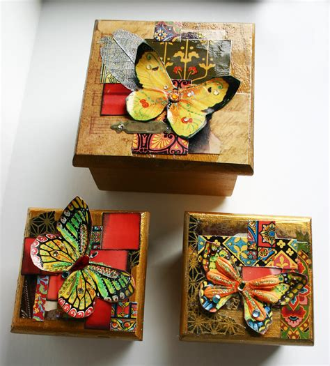 decorated butterfly wood boxes set of 3 decorative wood