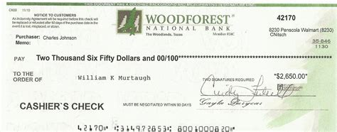 Cashiers Check Image