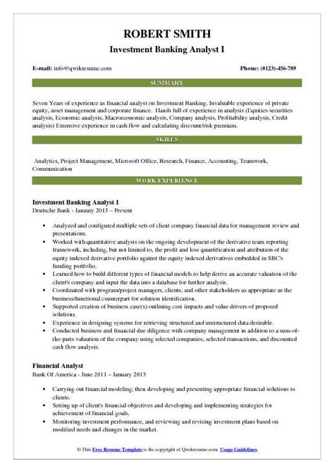 Investment Banking Analyst Resume by Investment Banking Analyst Resume Sles Qwikresume