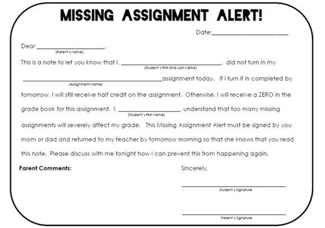 Excuse Letter For Late Of Assignment The Real Teachr Missing Assignments History The O Jays Note And Parents