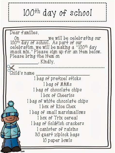 Parent Letter Exles Day Of School The 100th Day Of School Celebration Easy Teaching Tools