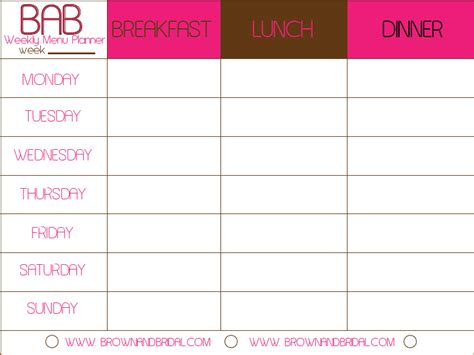 weekly lunch menu template 6 weekly menu planner template procedure template sle