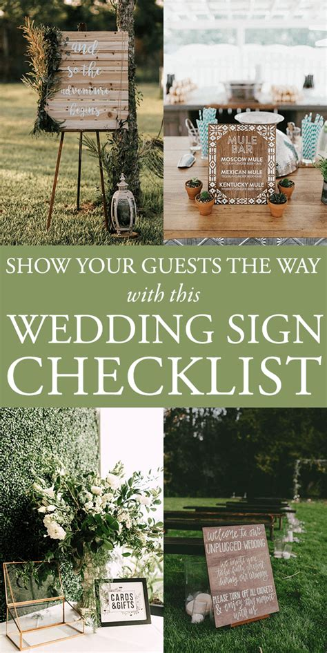 Your Wedding Your Way show your guests the way with this wedding sign checklist