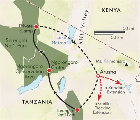 tanzania private journey itinerary map wilderness travel