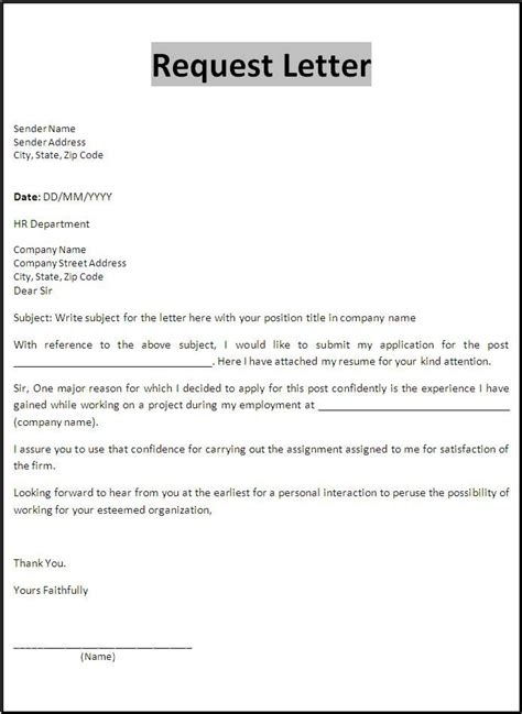 Request Letter Guidelines Best Letter Of Request Format Letter Format Writing