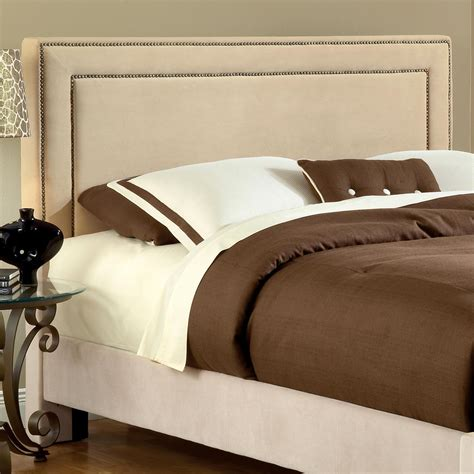 fabric headboard with nailhead trim fabric headboard buckwheat nailhead trim dcg stores