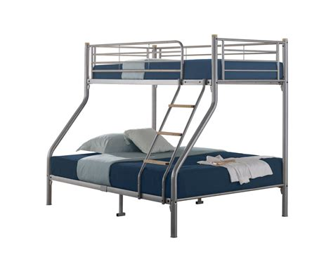Quality Triple Sleeper Metal Bunk Bed Silver With 2 Bunk Bed Mattress