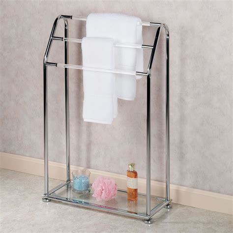 creative free standing bathroom towel rack design