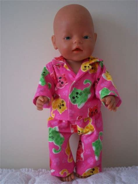 baby born dolls clothes pink flannellette pyjamas doll